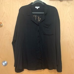 Umgee Blk LongSleeve Lace Back Button Front Blouse